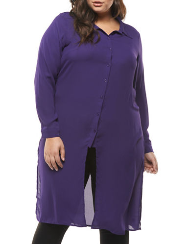 Dex Plus Long Sleeve Blouse-PURPLE-1X
