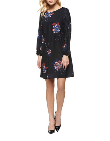 Dex Floral-Print Shift Dress-INDIGO MULTI-Small