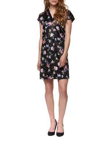 Dex Pleated Floral-Print Shirt Dress-ROSE/BLACK-Large