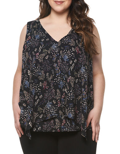 Dex Plus Leaf-Print Ruffle Top-MULTI-2X