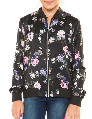 Dex Floral-Print Bomber Jacket-BLACK-Medium