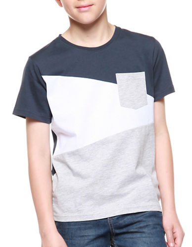 Dex Colourblocked Pocket Tee-GREY-10-12