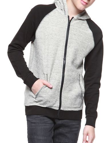 Dex Zip-Front Knit Cotton Hoodie-BLACK-8-10