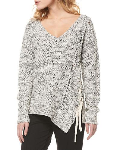 Dex Asymmetrical Lace Up Sweater-BLACK MULTI-Large