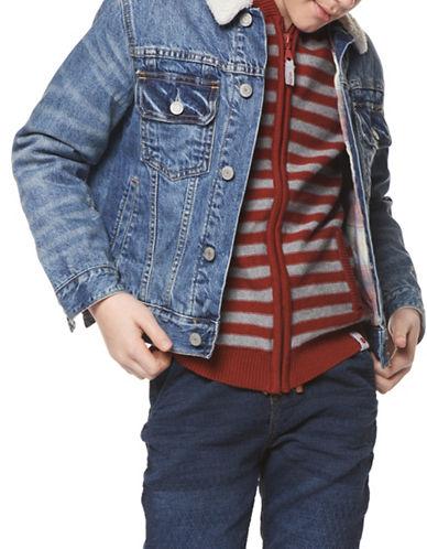 Dex Plaid Cotton Denim Jacket-BLUE-14-16