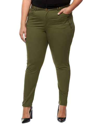 Dex Plus Zip Detail Skinny Pants-DARK GREEN-2X