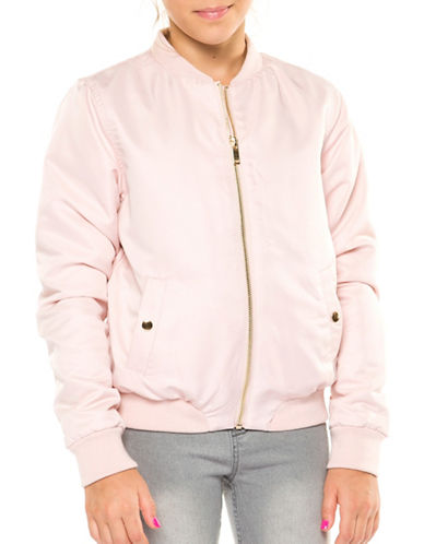 Dex Zip-Front Bomber Jacket-PINK-X-Large