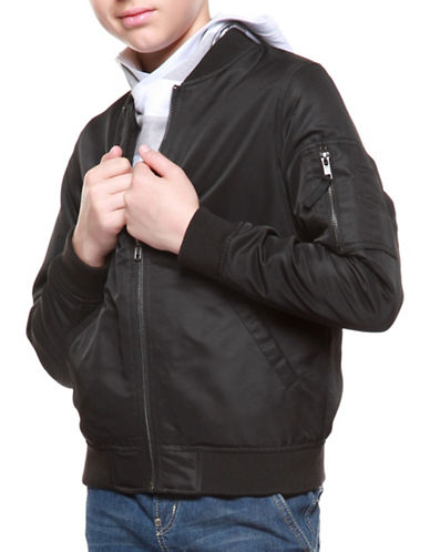 Dex Zip-Front Bomber-BLACK-10-12