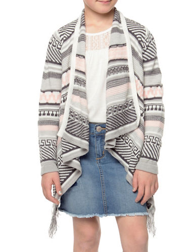 Dex Fringed Open-Front Cardigan-GREY-Small