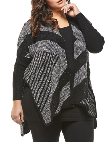Dex Plus Drape Cardigan-BLACK/GREY-3X