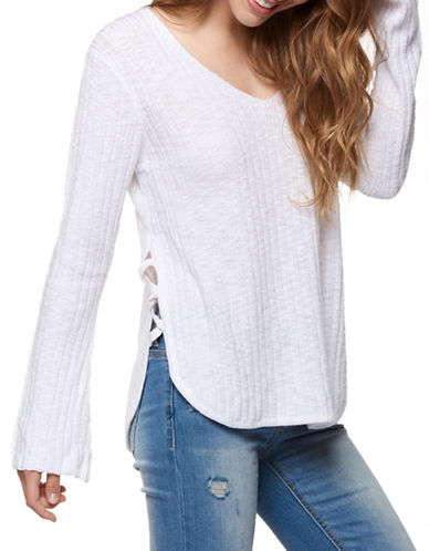 Dex Side Strap Knit Sweater-WHITE-Large