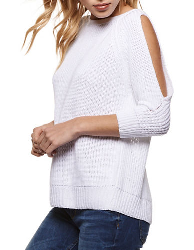 Dex Embroidered Three-Quarter Sleeve Sweater-WHITE-Small