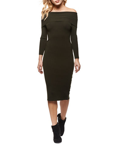 Dex Off-The-Shoulder Sweater Dress-GREEN-X-Small