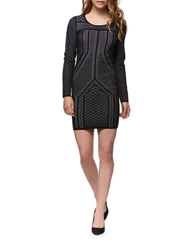 Dex Two-Tone Sweater Dress-BLACK-Large