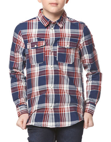 Dex Plaid Button-Down Shirt-RED-8-10