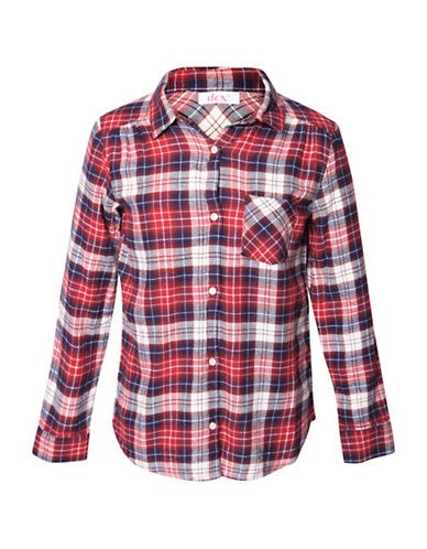 Dex Plaid Cotton Casual Button-Down Shirt-RED-Small
