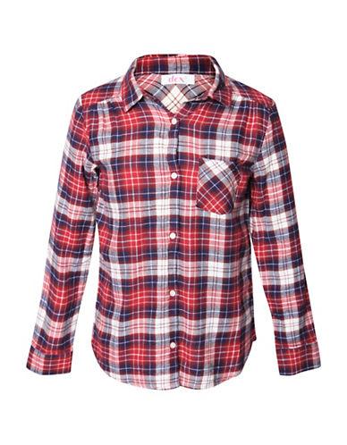 Dex Plaid Cotton Casual Button-Down Shirt-RED-Medium