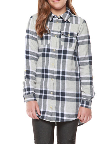 Dex Roll-Up Sleeve Plaid Shirt-NAVY-Medium