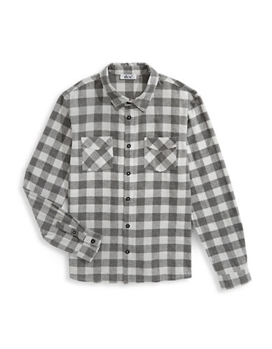 Dex Plaid Cotton Button-Down Shirt-GREY-Small