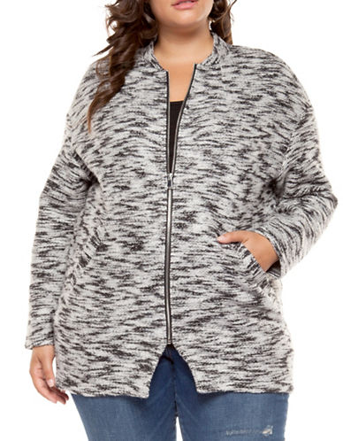 Dex Plus Zip-Front Long Sweater Coat-GREY-2X