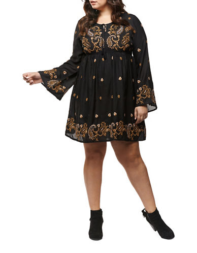 Dex Plus Embroidered Kimono Sleeve Dress-TOFFEE-3X
