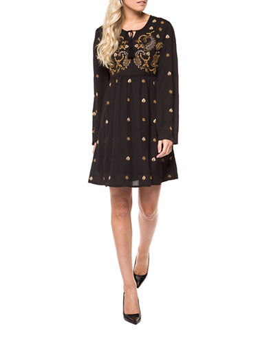 Dex Bell Sleeve Printed Dress-BROWN-X-Small