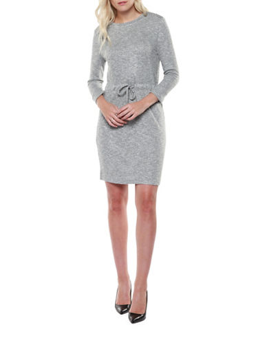 Dex Roll-Sleeve Sweater Dress-GREY-X-Small