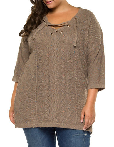 Dex Plus Textured Lace-Up Top-BROWN-2X