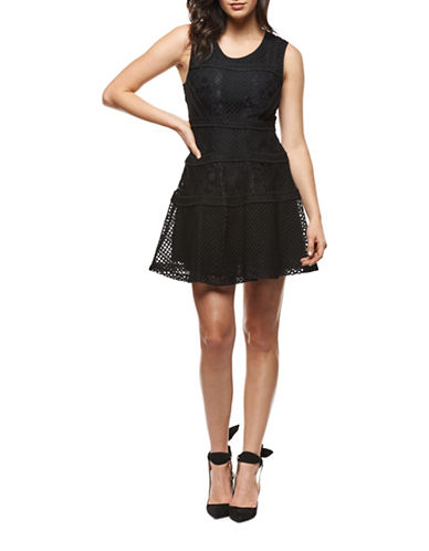 Dex Tiered Lace A-Line Dress-BLACK-Small