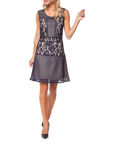 Dex Tiered Lace A-Line Dress-INDIGO-Large