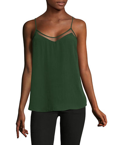 Dex Mesh-Trimmed Knit Camisole-GREEN-Large