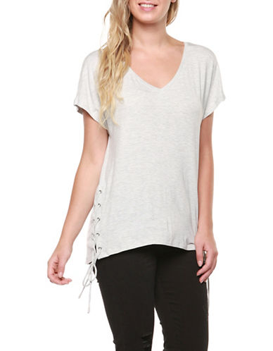 Dex Side Lace-Up Dolman Sleeve Tee-GREY-Medium