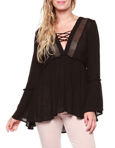 Dex Lace-Up Front Crochet Top-BLACK-X-Small