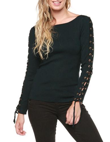 Dex Lace-Up Sleeve Sweater-GREEN-Medium