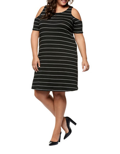 Dex Plus Cold-Shoulder Stripe Dress-BLACK/IVORY-3X