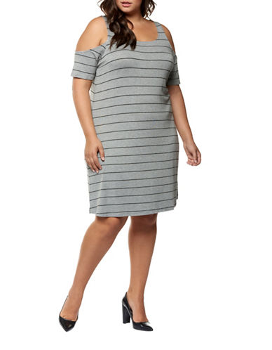 Dex Plus Cold-Shoulder Stripe Dress-GREY-1X