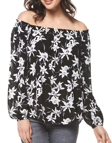 Dex Off-the-Shoulder Print Top-BLACK MULTI-X-Small