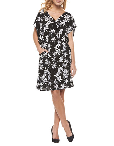 Dex Crossover Printed Dress-BLACK MULTI-Medium