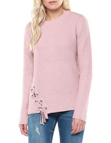 Dex Long Sleeve Ribbed Sweater-PINK-Medium