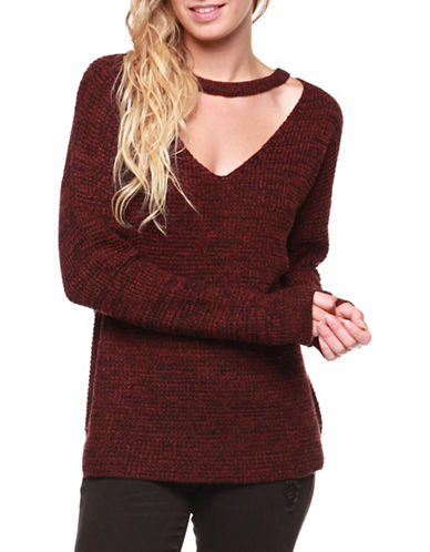 Dex Long Sleeve Sweater-RED-X-Small