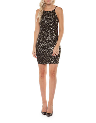 Dex Sparkle Sleeveless Dress-BLACK-Small