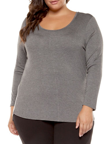 Dex Plus Long Sleeve Top-DARK GREY-3X