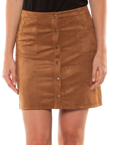 Dex Velvet Mini Skirt-BROWN-Large