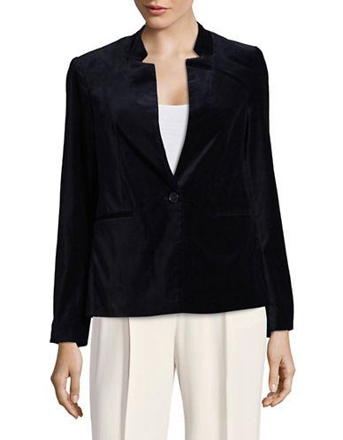 Dex Velvet Tuxedo Style Blazer-BLUE-X-Small