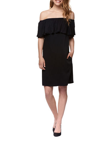Dex Woven Off-the-Shoulder Ruffle Dress-BLACK-X-Small