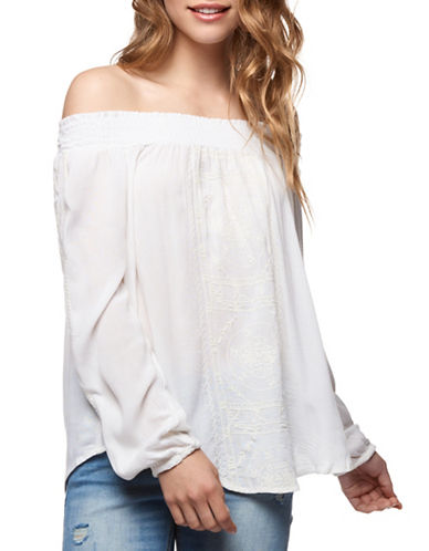 Dex Shirred Off-Shoulder Top-NATURAL-Small