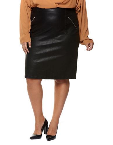 Dex Plus Faux Leather Pencil Skirt-BLACK-3X
