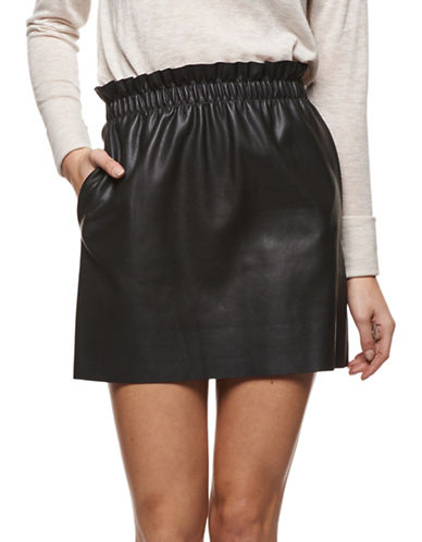 Dex Faux Leather Mini Skirt-BLACK-Large
