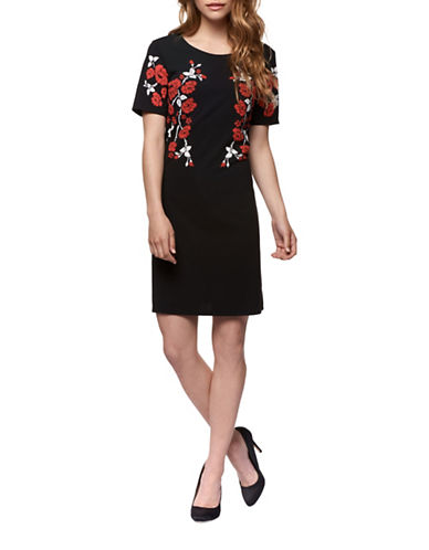 Dex Floral Embroidered Shift Dress-BLACK/RED-X-Small