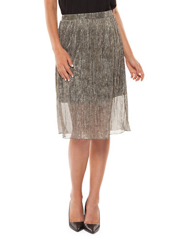 Dex Pleated Shimmer Skirt-GOLD-Small